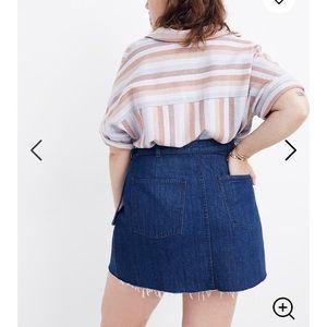 Madewell Skirts - Madewell Denim Raw Hem Mini Wrap Skirt